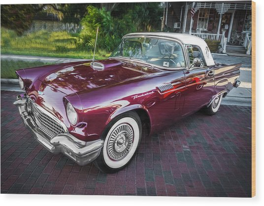 1957 Ford Thunderbird Convertible Painted    Wood Print