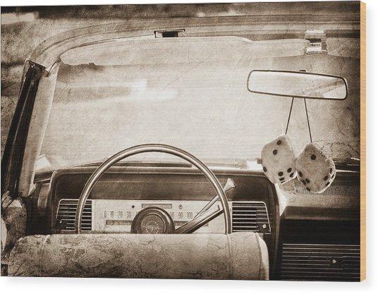 1967 Lincoln Continental Steering Wheel Wood Print