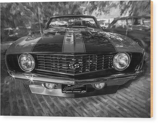 1969 Chevy Camaro Ss Painted Bw Wood Print