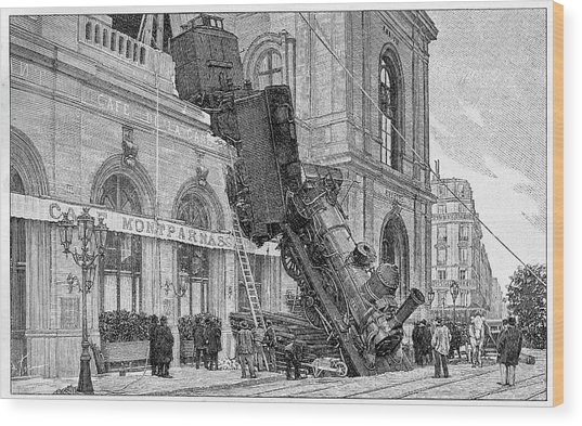 19th Century Railway Accident Wood Print by Cci Archives