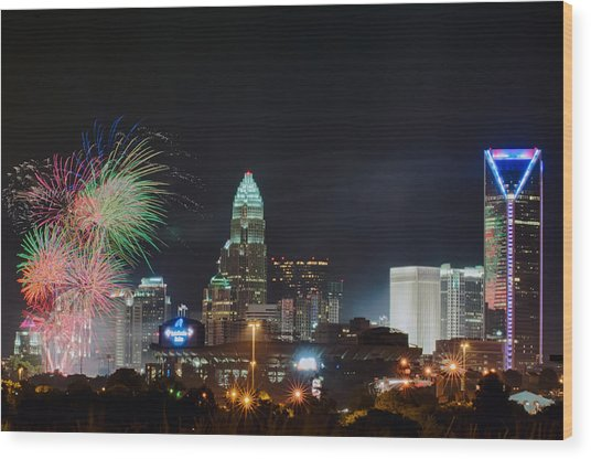 4th Of July Firework Over Charlotte Skyline Wood Print