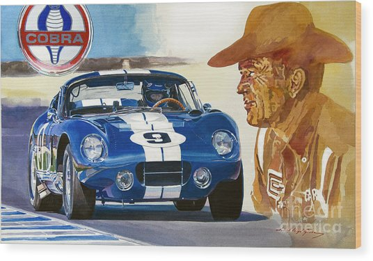 64 Cobra Daytona Coupe Wood Print by David Lloyd Glover