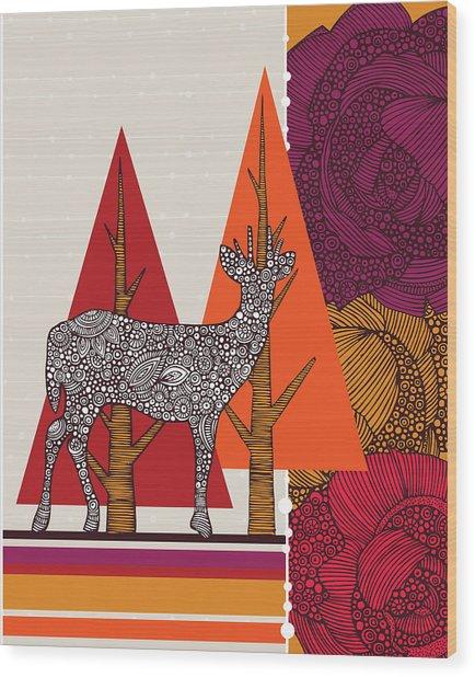 A Deer In Woodland Wood Print