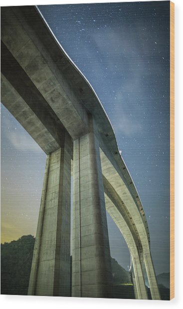 A Highway Bridge At Night Wood Print