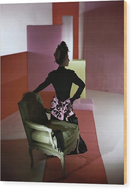 A Model Wearing A Schiaparelli Dress Wood Print by Horst P. Horst