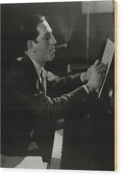 A Portrait Of George Gershwin At A Piano Wood Print