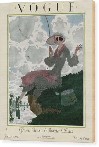 A Vogue Magazine Cover Of A Woman Wood Print by Pierre Brissaud