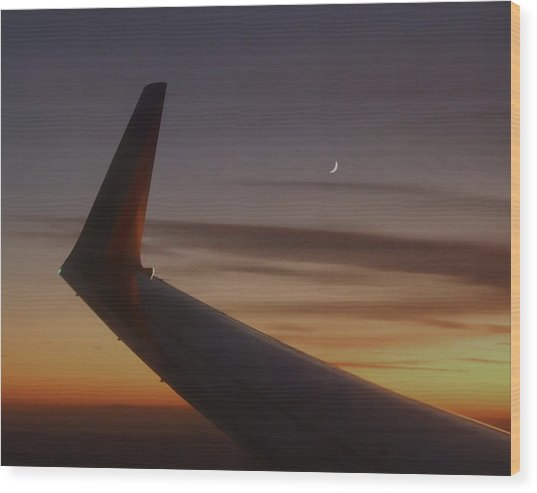 A Wing And A Moon   Wood Print