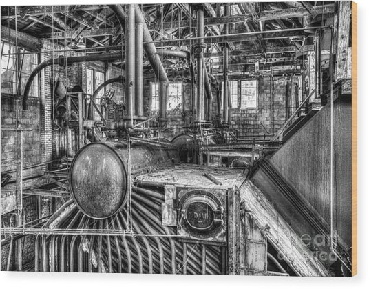 Abandoned Steam Plant Wood Print
