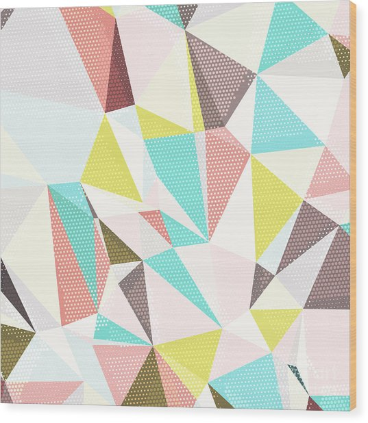 Abstract Background With Triangles And Wood Print