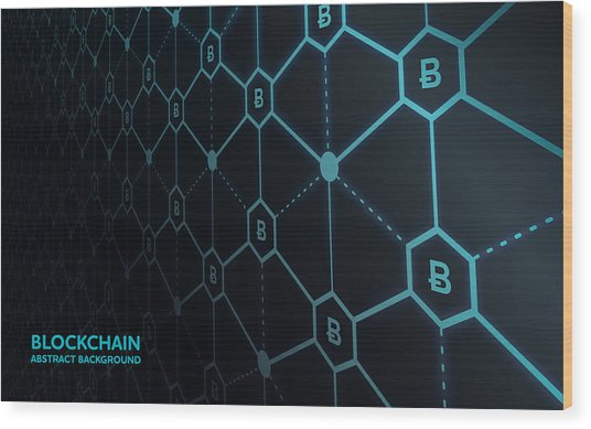 Abstract Blockchain Network Background Wood Print by AF-studio