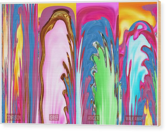 Abstract Emotional Stages  Confusion Disbelief Grief Anger Walkaway Wood Print