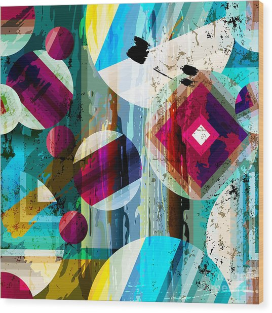 Abstract Geometric Pattern Background Wood Print