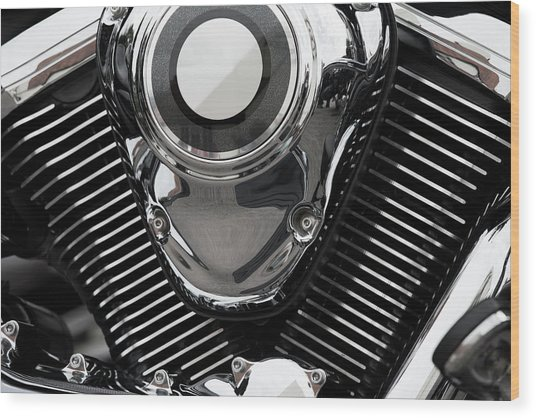 Abstract Motorcycle Engine Wood Print by Andrew Dernie