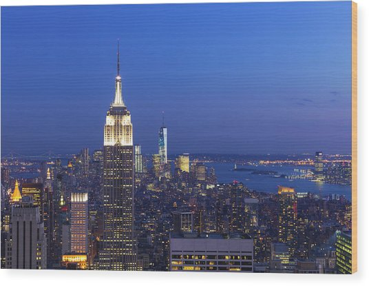 Aerial View Of Empire State And Midtown Wood Print by Future Light