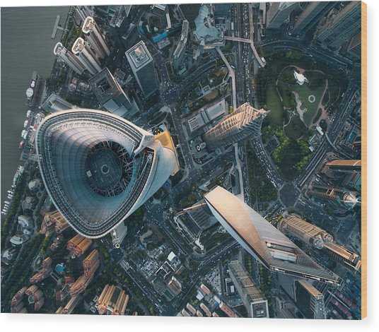 Aerial View Of Shanghai Wood Print by Ansonmiao