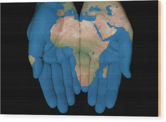 Africa In Our Hands Wood Print