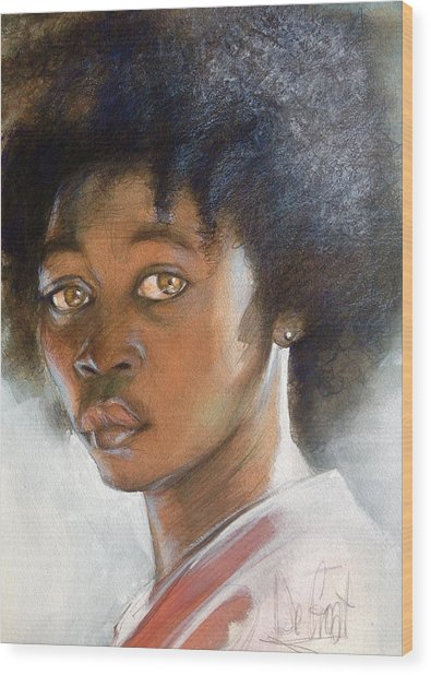 African American Boy Wood Print