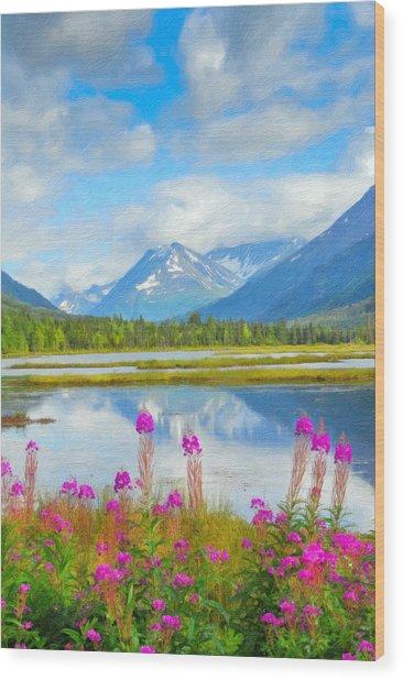 Alaskan Horizons Oil Painting Wood Print