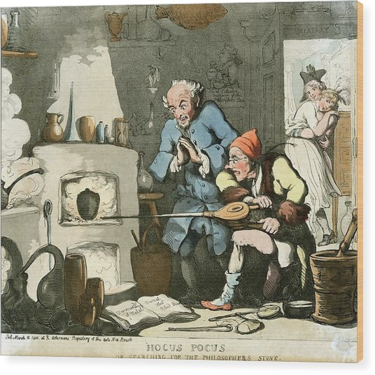 Alchemist At Work Wood Print by Chemical Heritage Foundation/science Photo Library