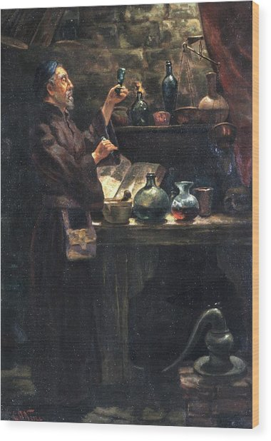 Alchemist At Work Wood Print by Will Brown/chemical Heritage Foundation/science Photo Library