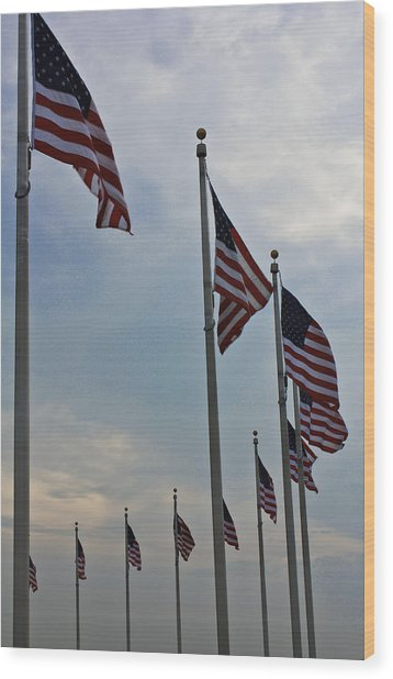 American Flags Wood Print by DustyFootPhotography