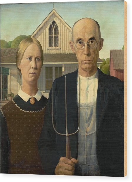 Wood Print featuring the painting American Gothic by Grant Wood