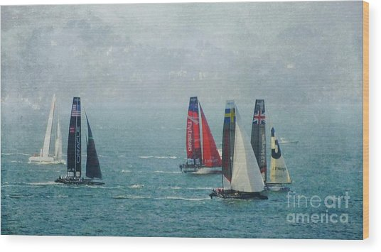 Americas Cup Racing Wood Print by Scott Cameron