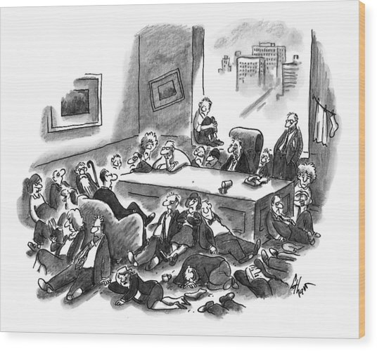 An Office Room Is Seen Overflowing With Men Wood Print