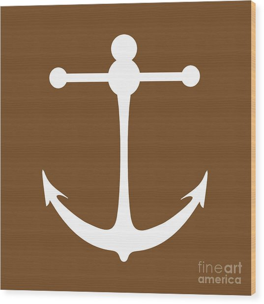 Anchor In Brown And White Wood Print