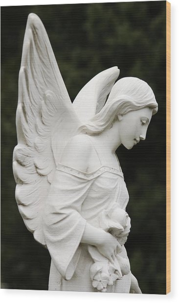 Angel Statue Wood Print