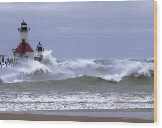 Angry Lake Michigan  Wood Print