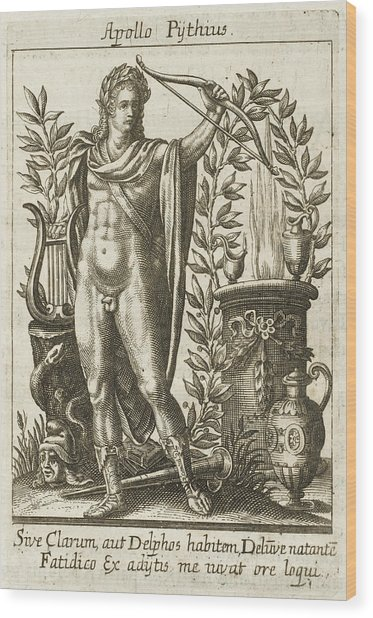 Apollo Pythias, The Greek God Wood Print by Mary Evans Picture Library