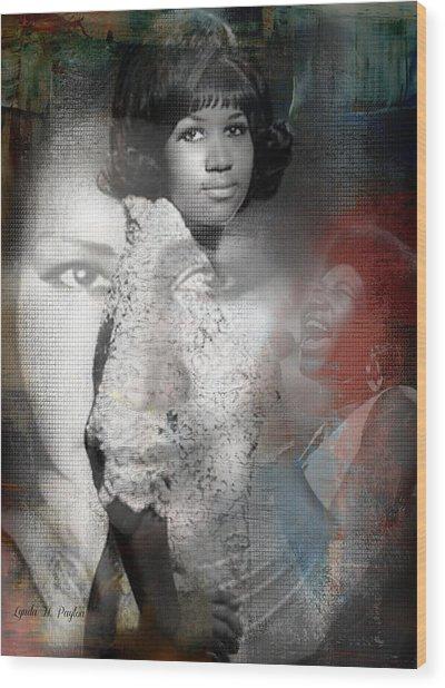 Aretha Franklin Wood Print