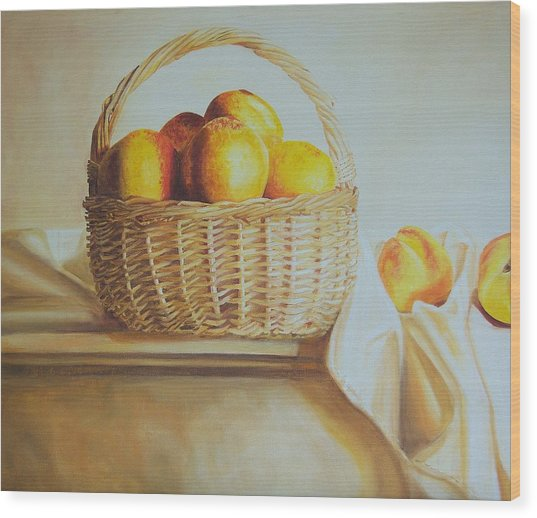 still life print original oil painting Basket Full of Peaches Wood Print by Diane Jorstad