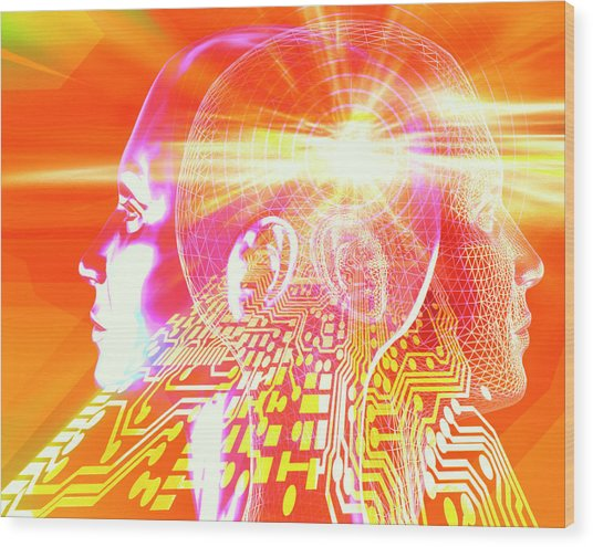 Artificial Intelligence Wood Print by Alfred Pasieka/science Photo Library