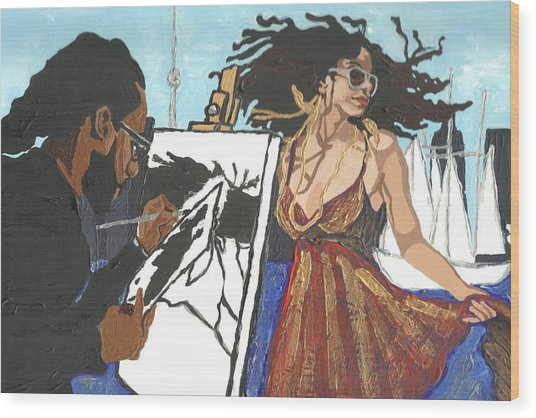 Artist At Work Wood Print