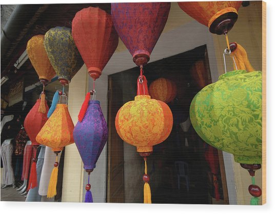 Asia, Vietnam Colorful Fabric Lanterns Wood Print by Kevin Oke