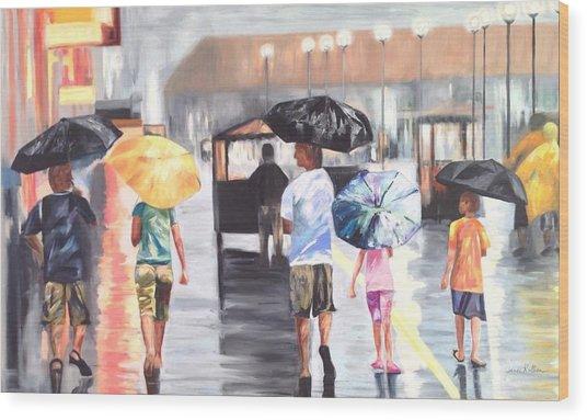 Atlantic City Boardwalk Rain Wood Print
