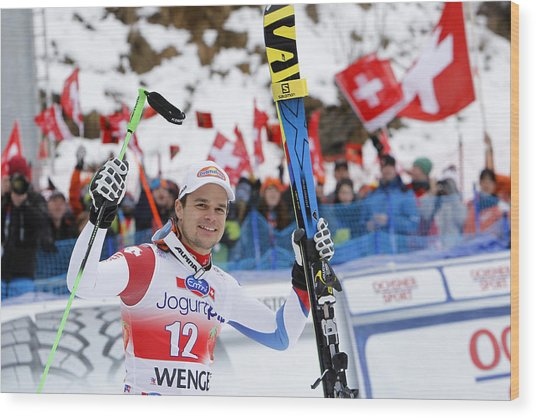 Audi Fis World Cup - Men's Downhill Wood Print by Alexis Boichard/Agence Zoom