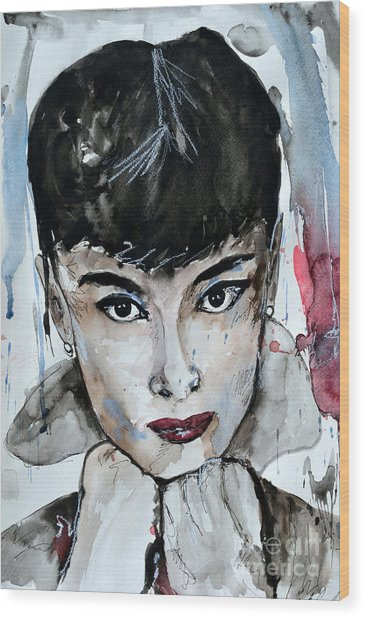Audrey Hepburn - Abstract Art Wood Print