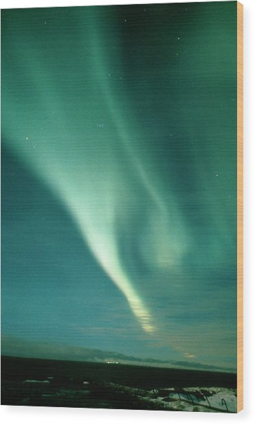 Aurora Borealis Display Seen From Northern Norway Wood Print by Pekka Parviainen/science Photo Library