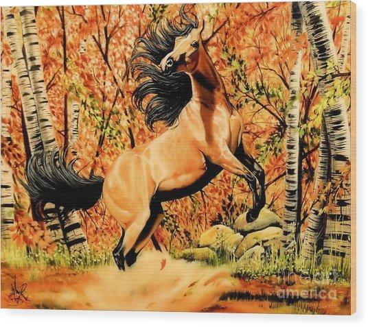 Autumn Frolick Wood Print