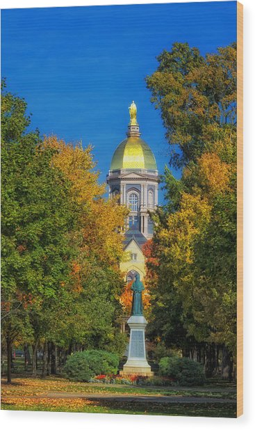Autumn On The Campus Of Notre Dame Wood Print