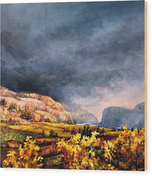 Autumn Wine Wood Print