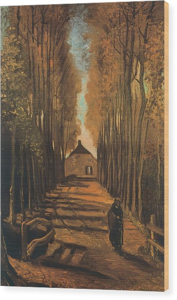 Avenue Of Poplars In Autumn Wood Print by Vincent van Gogh