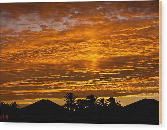 1 Awsome Sunset Wood Print