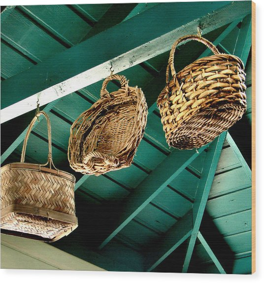 Baskets  Wood Print
