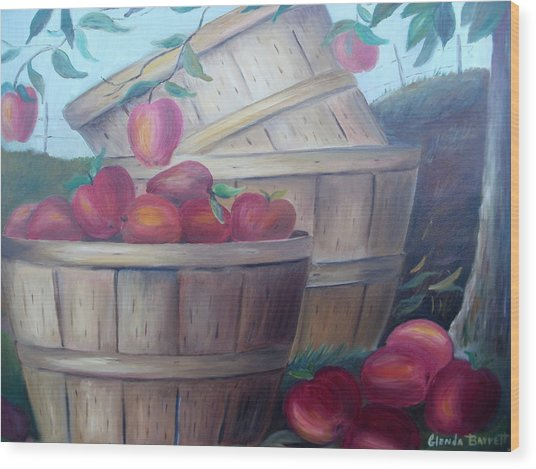 Baskets Of Apples Wood Print by Glenda Barrett