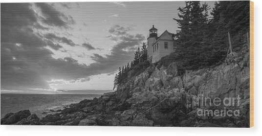 Bass Harbor Head Light Sunset  Wood Print